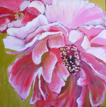 painting of peonies, painting the background