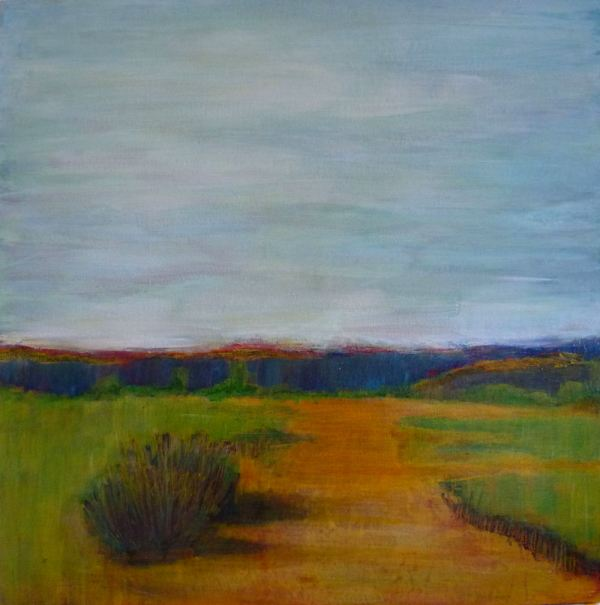 Through the Rolling Fields, Landscape mixed media painting tutorial