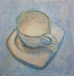 White Coffee, mixed media on canvas