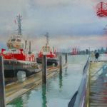 Tugboats, watercolor and mixed media on paper, 15 x 22 inches