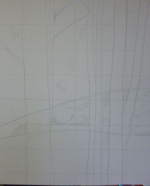 I trace squares to draw the trees, leaves, lines etc...