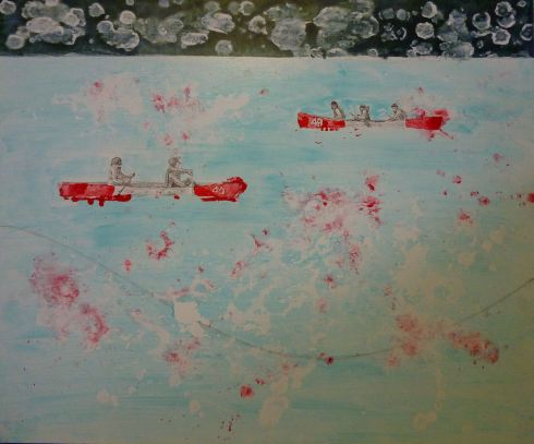I am then painting a background with azure blue acrylic mixed with medium then paint the canoes with red ink, I also spray a bit of red liquid acrylic all over the painting.