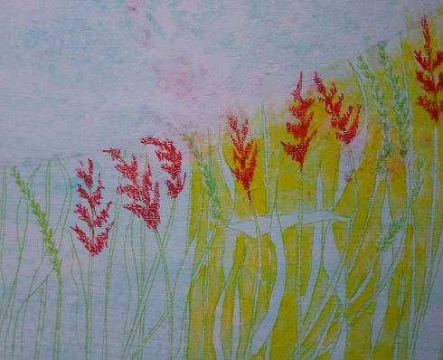 To make the grasses more visible, I am painting around them with a layer of yellow.