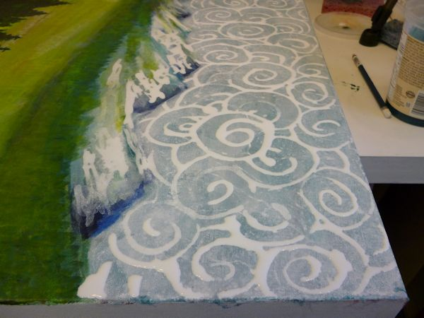 I am painting abstract patterns for the clouds in the sky