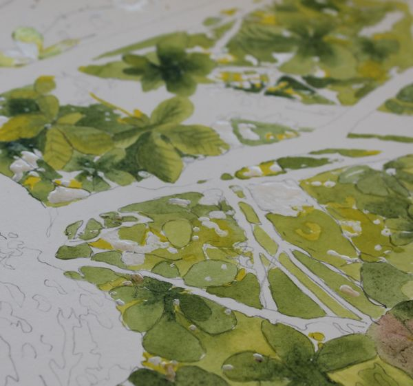 painting leaves with watercolor