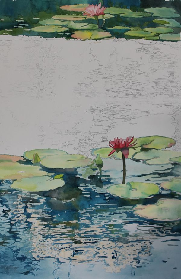 Nymph Echo Painting Lily Pads And Reflections On Water