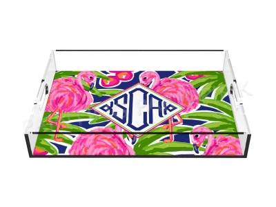 Flamingo Monogram Lucite Tray