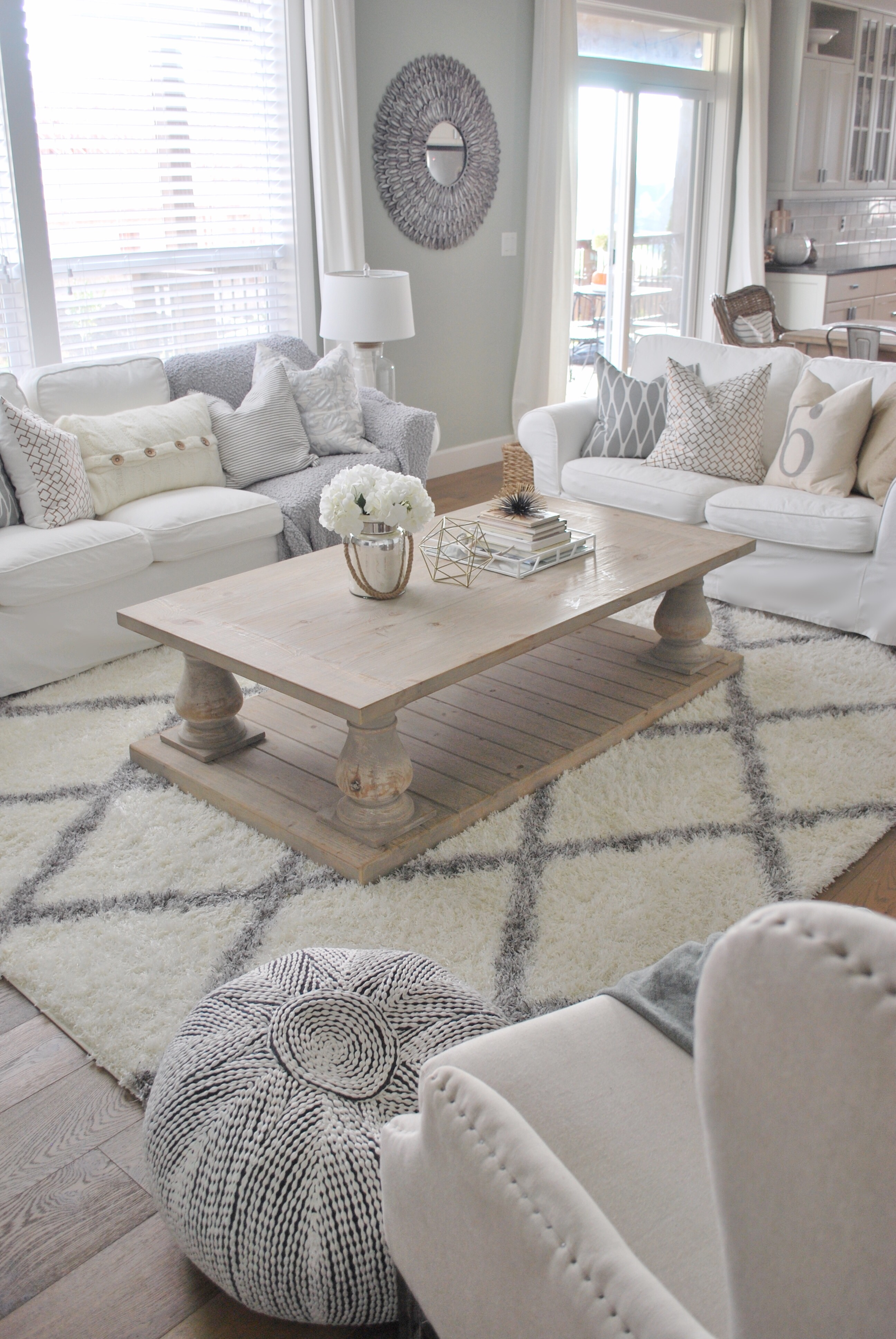 winfrey reclaimed pinewood coffee table whitewash kitchen table We love this feature because now both sofas can access the table without having to slide it one way or the other image