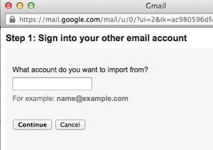 Masukan alamat email yang akan di import ke Gmail