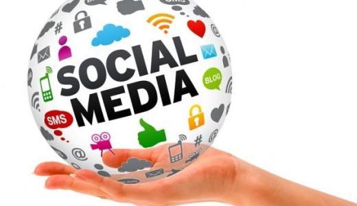 Social media globe in hand