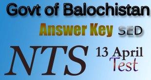 Govt of Balochistan answer key 13 April