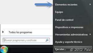 Menú Inicio de Windows 7 - Elementos recientes