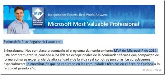 Nombramiento MVP 2012 - PALEL - Outlook