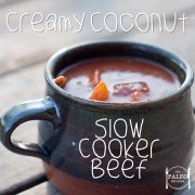 Paleo recipe Creamy Coconut Slow Cooker Beef dinner crockpot-min
