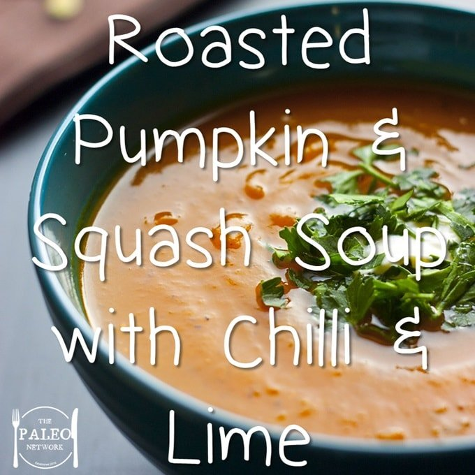 Paleo recipe Roasted Pumpkin and Squash Soup with Chilli and Lime-min