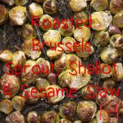 paleo recipe Roasted Brussels Sprout, Shallot and Sesame Slaw-min