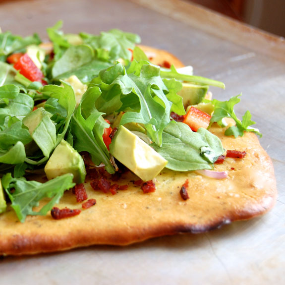 Paleo Bacon, Tomato, and Avocado Flatbread