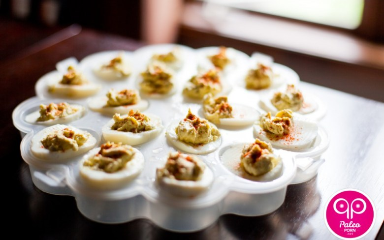 Paleo Salmon Deviled Eggs with Homemade Mayonnaise