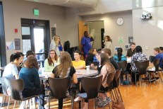 Palo Alto youth and adults gathered recently at Mitchell Park to discuss emotional health for students. Photo by Paly Voice.
