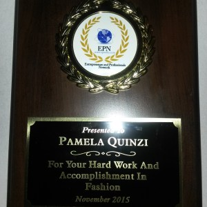 November 2015 Award from EPN entrepreneurs and professional network for the hard work and accomplishment in fashion at the Trump Soho, New York.