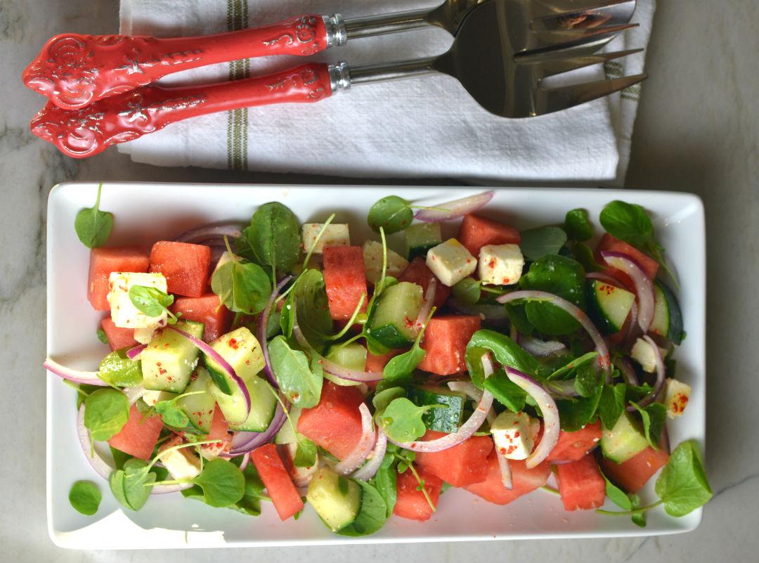 Watermelon Feta Watercress Salad