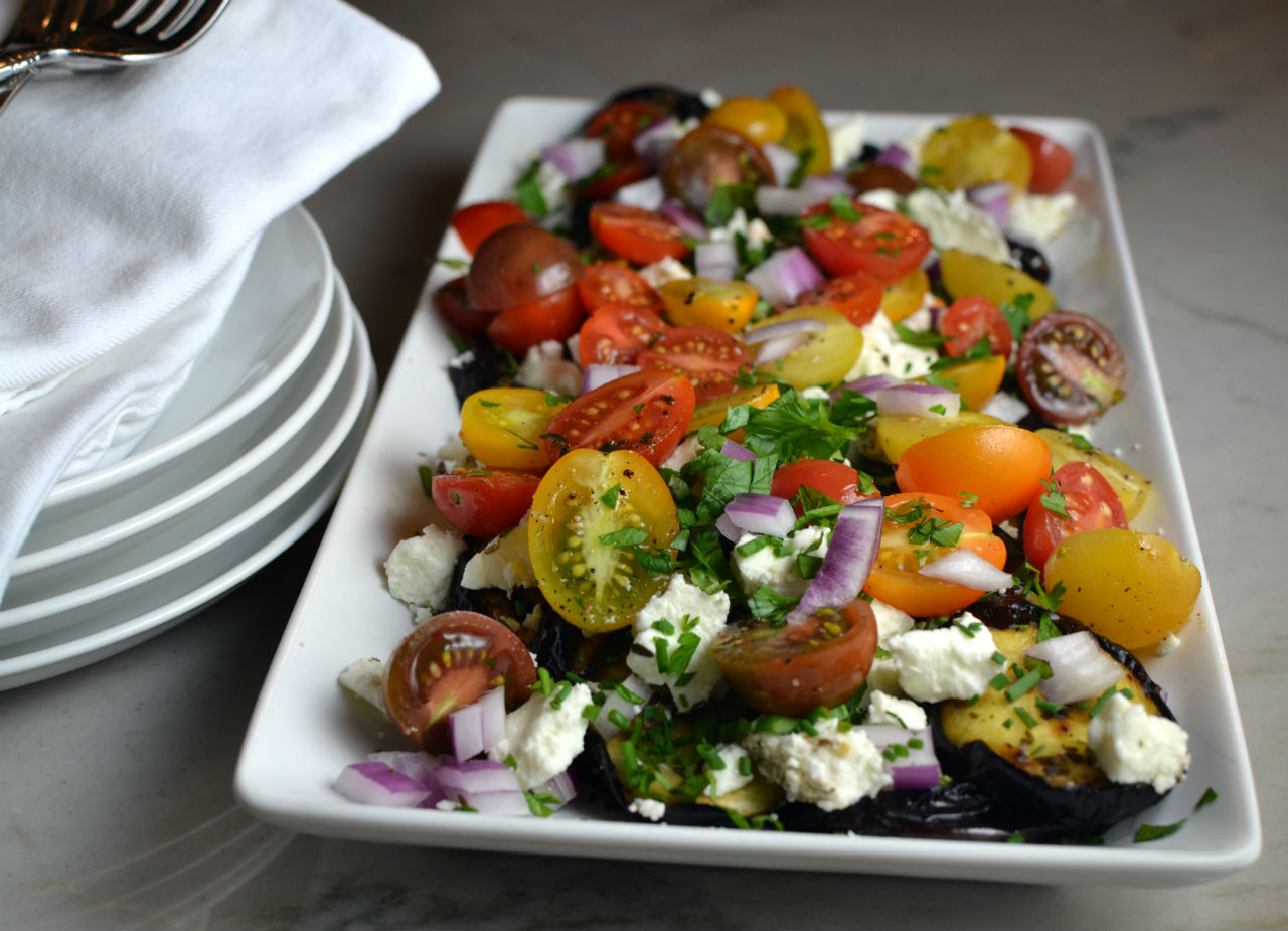 Cherry Tomato Eggplant Salad with Lemon Vinaigrette