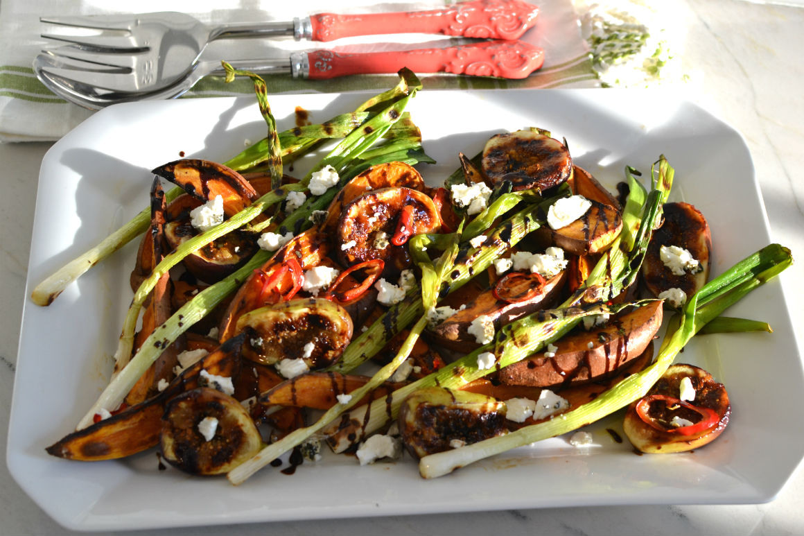 Sweet Potato Fig Scallion and Goat Cheese Salad