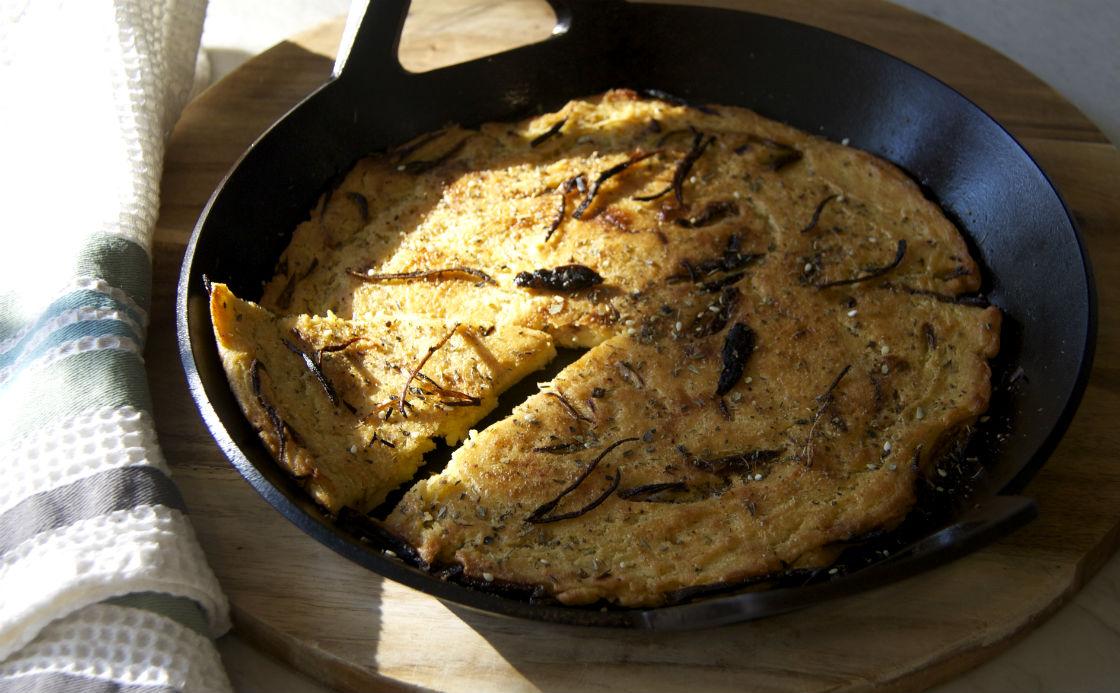 Chickpea Flatbread with Crispy Shallots