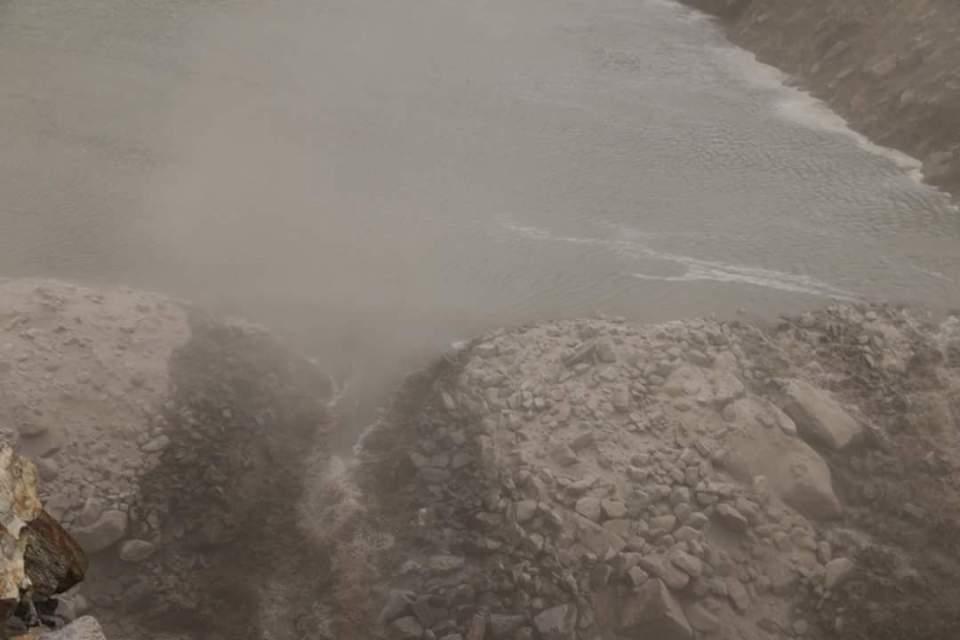 A spillway starts developing