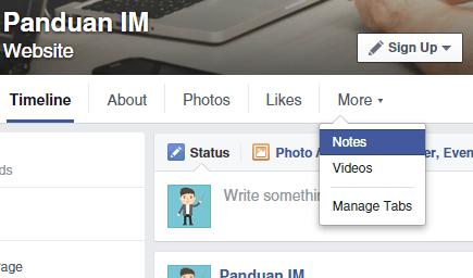 Membuat notes di Facebook