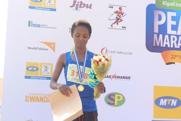 Nyirarukundo Salome, a Rwandans who came 2nd in Semi Marathon