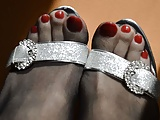 Bright Red Toes In Pantyhose
