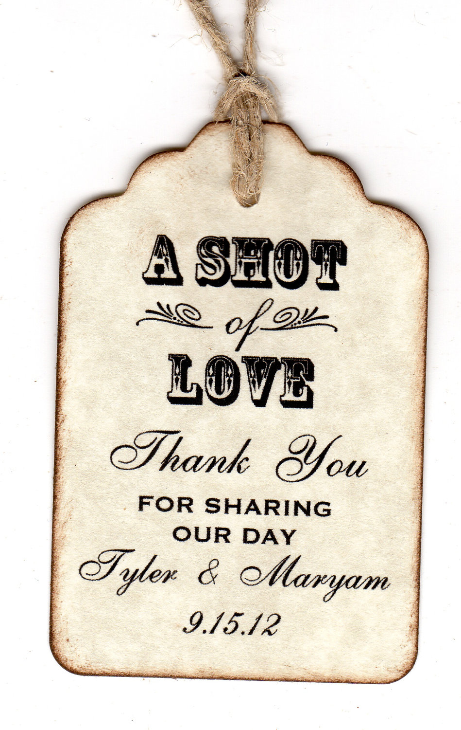 Pretty Personalized Shot Love Wedding Favor Tags Place Cards Thank Shot Glass Tags Liquor Or Wine Bottle Labels Vintage Style Paperand Personalized Shot Love Wedding Favor Tags Place Cards inspiration Thank You Tags