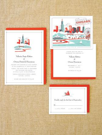 Lab Partners Hello Lucky Chicago Wedding Invitations
