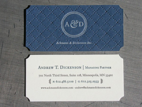 Ackmann & Dickenson Letterpress Business Cards