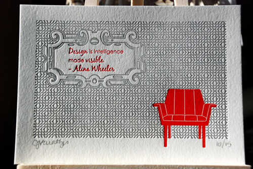 Cartoules Letterpress Red Chair Print