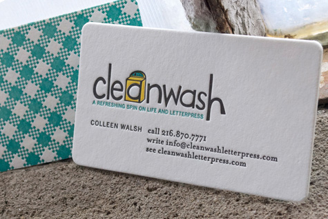 Cleanwash Letterpress Business Cards