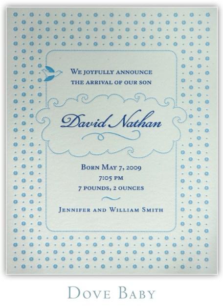 Dove Baby Letterpress Birth Announcement