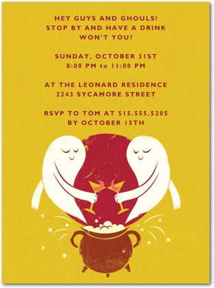 Halloween Party Invites Ghost Toast