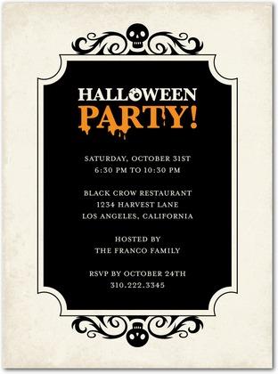 Skeleton Swirls Halloween Party Invites