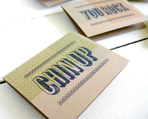 Spring Olive Letterpress Phrase Cards