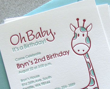 Sweet Harvey Custom Letterpress Birthday Invitations