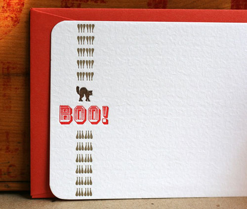 Boo Halloween Letterpress Card
