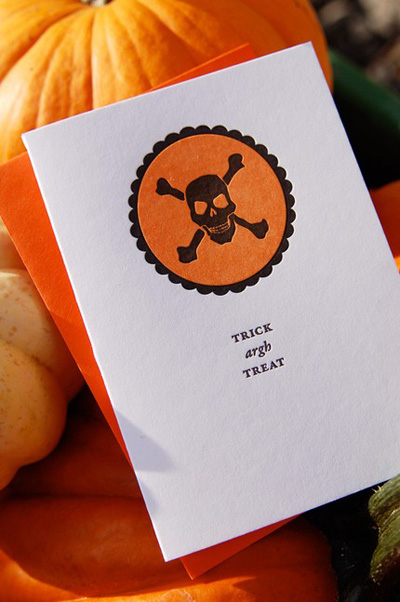 Trick Argh Treat Letterpress Halloween Invitations