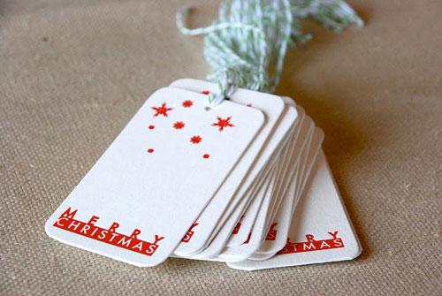 Cartoules Letterpress Christmas Gift Tags