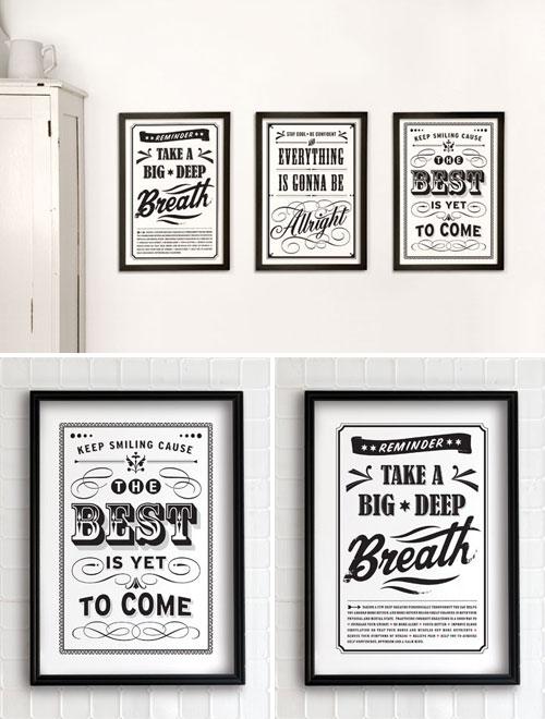 Vintage Positive Message Prints Eva Juliet