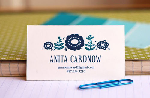 Free Printable Calling Card Blue