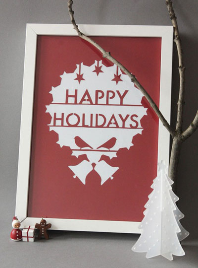 mrYen Hand Cut Happy Holidays Papercut