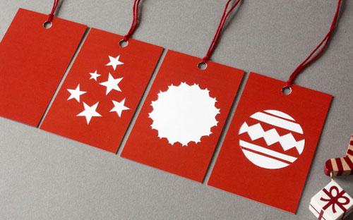 mrYen Hand Cut Papercut Holiday Gift Tags