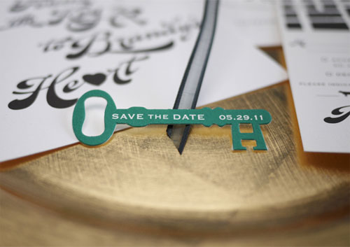 Die Cut Save the Date Key